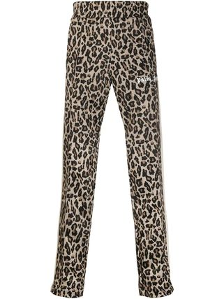 Leopard Patterns Street Style Logo Pants