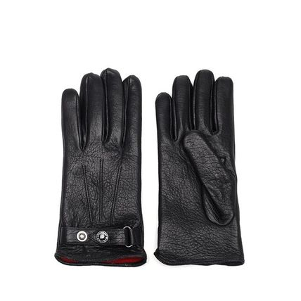 alexander mcqueen Street Style Plain Leather Leather & Faux Leather Gloves