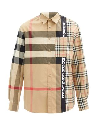 Burberry Shirts Button-down Other Plaid Patterns Unisex Street Style 8
