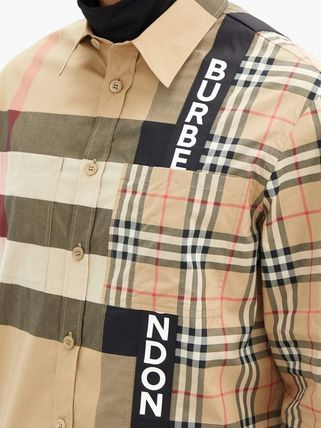 Burberry Shirts Button-down Other Plaid Patterns Unisex Street Style 9