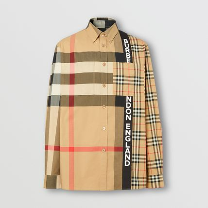 Burberry Shirts Button-down Other Plaid Patterns Unisex Street Style 4