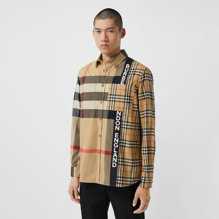 Burberry Shirts Button-down Other Plaid Patterns Unisex Street Style 6