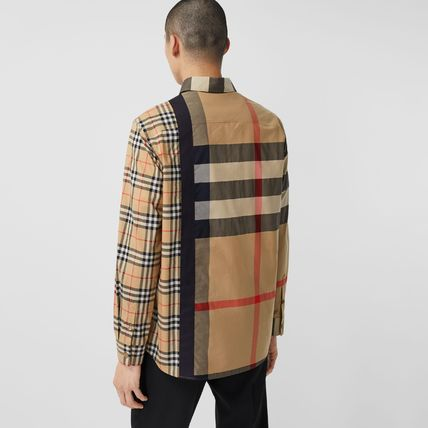 Burberry Shirts Button-down Other Plaid Patterns Unisex Street Style 7