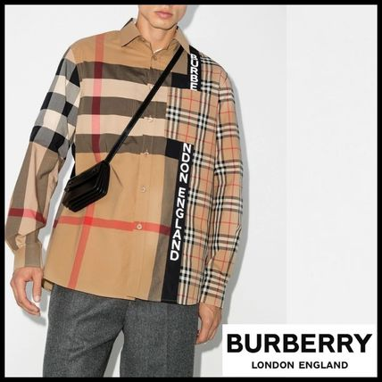 Burberry Button-down Other Plaid Patterns Unisex Street Style