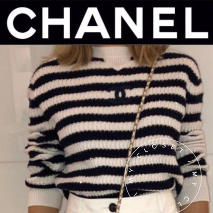 CHANEL ICON Crew Neck Stripes Casual Style Street Style Long Sleeves
