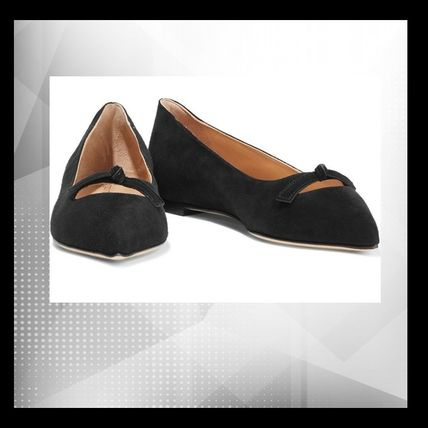 Sergio Rossi Suede Plain Elegant Style Pointed Toe Shoes