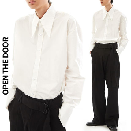 OPEN THE DOOR Shirts Street Style Collaboration Long Sleeves Plain Oversized