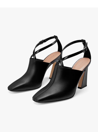 Pedro Plain Leather Block Heels Party Style Office Style