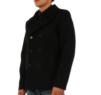 Saint Laurent Wool Peacoats Coats