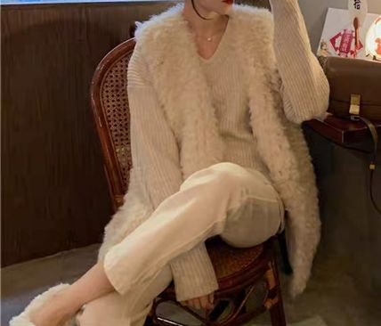 Casual Style Elegant Style Eco Fur Shearling Vest Jackets