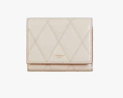 GIVENCHY GV3 Unisex Street Style Leather Folding Wallet Small Wallet Logo