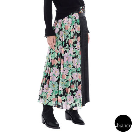 Flower Patterns Casual Style Nylon Pleated Skirts Bi-color
