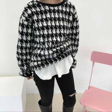Crew Neck Short Zigzag U-Neck Long Sleeves Medium Shearling