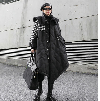 Stand Collar Coats Gingham Glen Patterns Zigzag Casual Style
