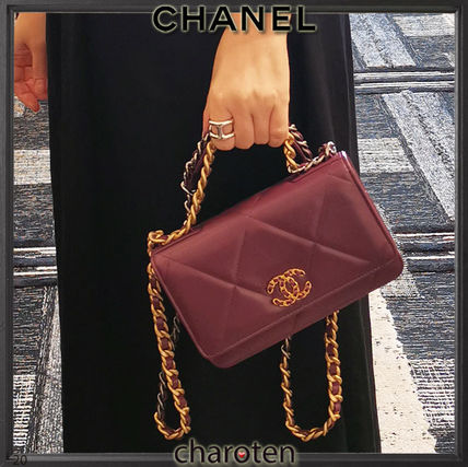 CHANEL CHAIN WALLET Casual Style Blended Fabrics 3WAY Chain Plain Leather