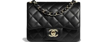 CHANEL MATELASSE Casual Style Lambskin Street Style Chain Plain Leather