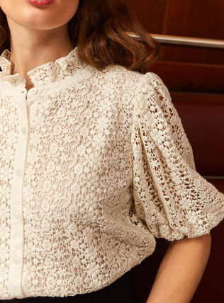 Front Button Sheer Cotton Short Sleeves Lace Elegant Style
