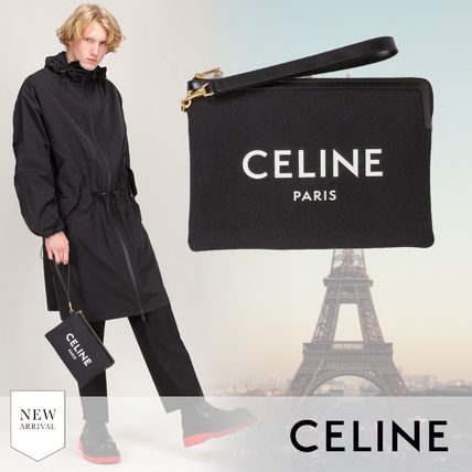 CELINE Unisex Blended Fabrics Plain Leather Logo Clutches