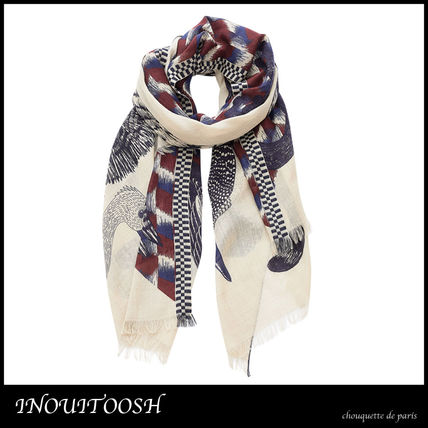 Wool Other Animal Patterns Knit & Fur Scarves