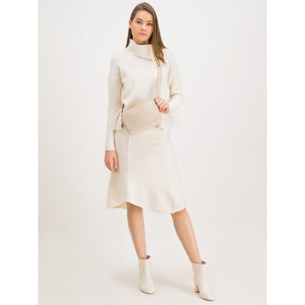 Max&Co. Midi Flared Skirts Casual Style Plain Medium Party Style 3