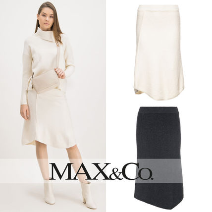 Max&Co. Midi Flared Skirts Casual Style Plain Medium Party Style