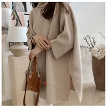 Casual Style Long Sleeves Plain Long High-Neck Office Style