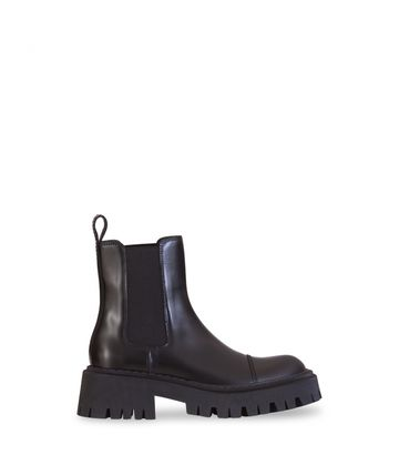 BALENCIAGA Round Toe Rubber Sole Casual Style Street Style Leather