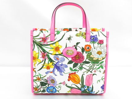 GUCCI Flower Patterns Casual Style Canvas 2WAY Leather Party Style