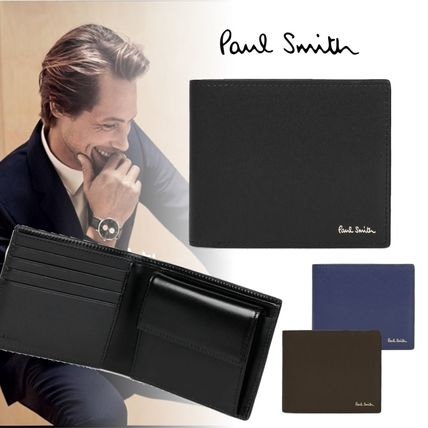 Paul Smith Folding Wallet Logo Plain Leather Folding Wallets