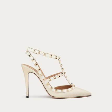 VALENTINO Casual Style Plain Leather Mules Heeled Sandals