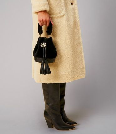 Tory Burch Casual Style Fur Street Style 2WAY Plain Leather Party Style