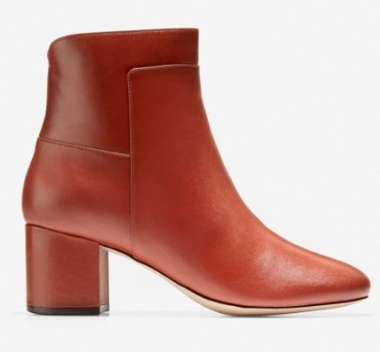 Round Toe Plain Leather Block Heels Ankle & Booties Boots