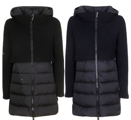 Wool Nylon Blended Fabrics Plain Medium Down Jackets