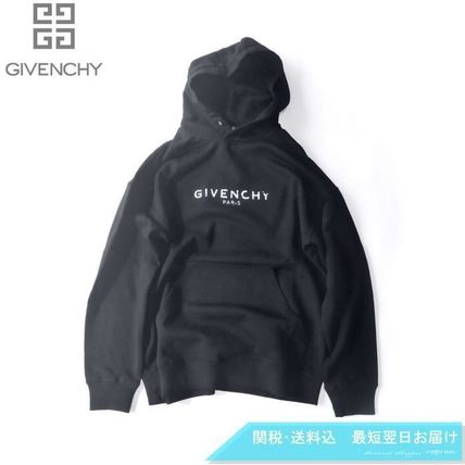 GIVENCHY Hoodies Pullovers Unisex Long Sleeves Plain Cotton Logo Luxury