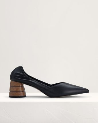 Pedro Blended Fabrics Plain Leather Block Heels Party Style