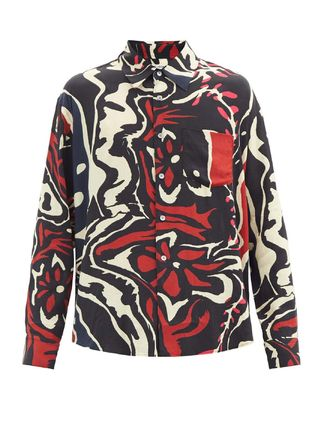 Button-down Flower Patterns Long Sleeves Shirts
