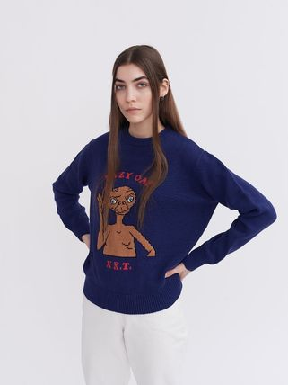 Casual Style Street Style U-Neck Collaboration Long Sleeves