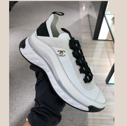 CHANEL SPORTS Round Toe Casual Style Plain Logo Low-Top Sneakers