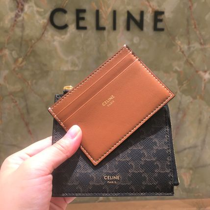 CELINE Triomphe Canvas Leather Small Wallet Logo Coin Cases