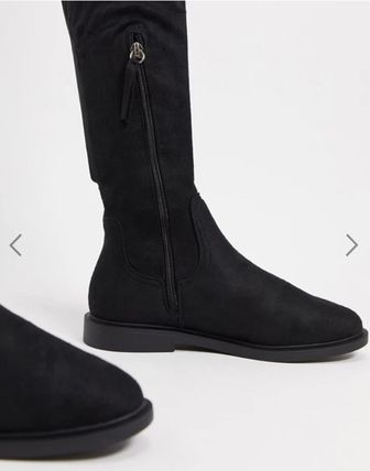 ASOS Platform Casual Style Blended Fabrics Plain Boots Boots