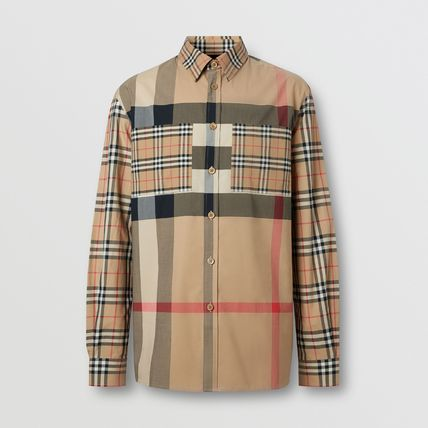 Burberry Shirts Button-down Other Plaid Patterns Unisex Street Style 2