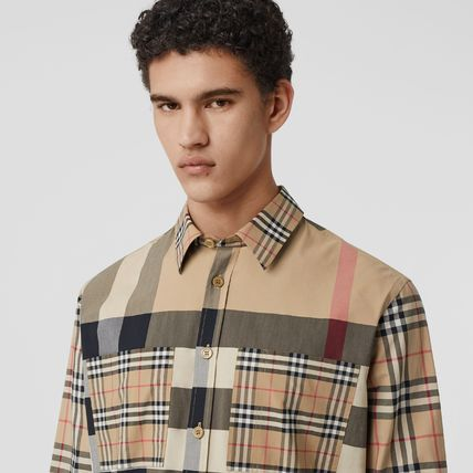 Burberry Shirts Button-down Other Plaid Patterns Unisex Street Style 3