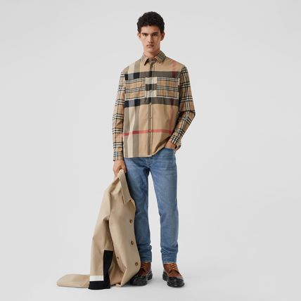 Burberry Shirts Button-down Other Plaid Patterns Unisex Street Style 5