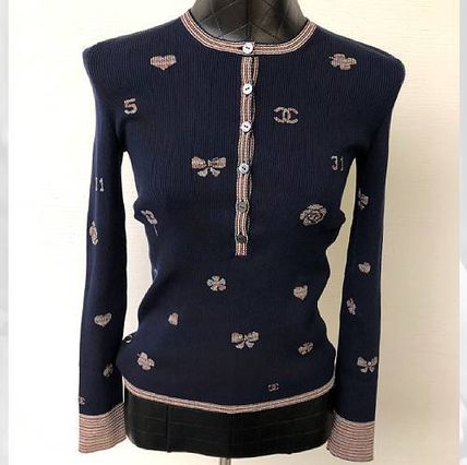 CHANEL ICON Casual Style Henry Neck Long Sleeves Plain Medium