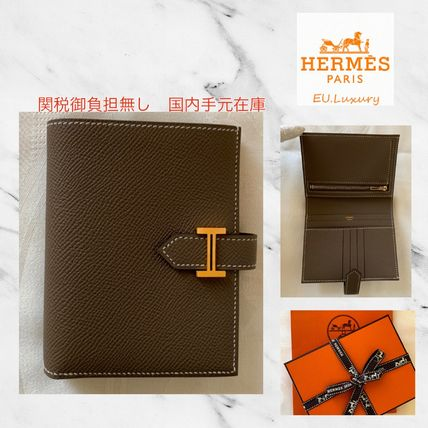 HERMES Bearn Unisex Calfskin Plain Leather Folding Wallet Small Wallet