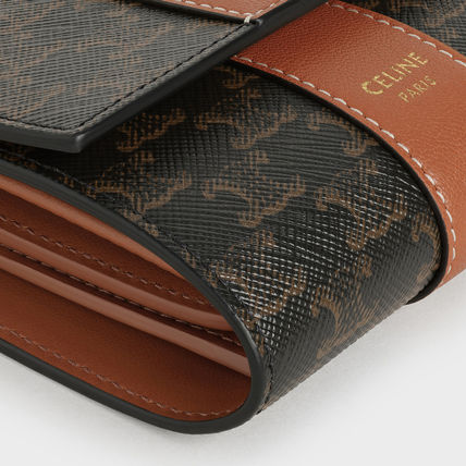 CELINE Triomphe Small Trifold Wallet In Triomphe Canvas And Lambskin