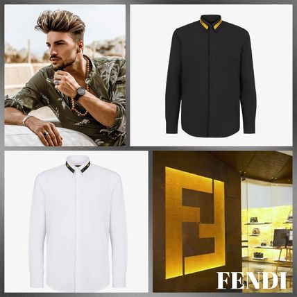 FENDI Shirts Long Sleeves Plain Cotton Logo Luxury Shirts