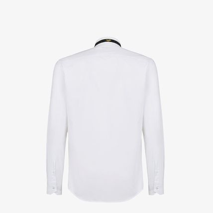 FENDI Shirts Long Sleeves Plain Cotton Logo Luxury Shirts 3