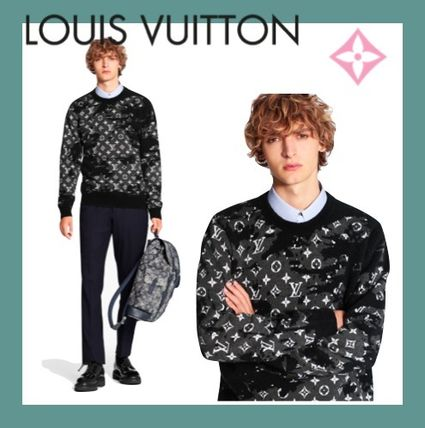 Louis Vuitton Sweaters Crew Neck Wool Long Sleeves Logo Luxury Sweaters 3