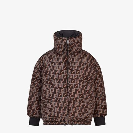FENDI Short Monogram Unisex Logo Down Jackets